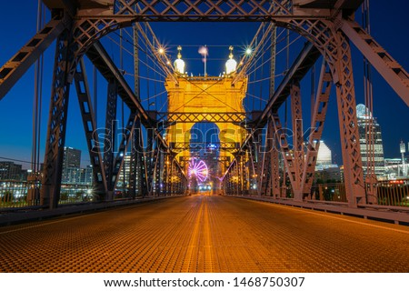 Dusk on Suspension Bridge in Cincinnati