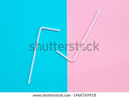 The plastic straws on a color background. #1468769918