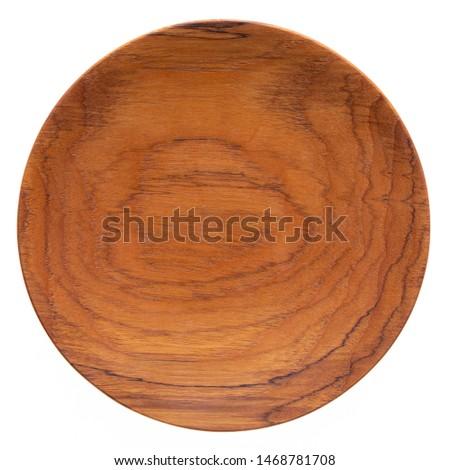 Handmade teak wood plate, teak wood texture. #1468781708