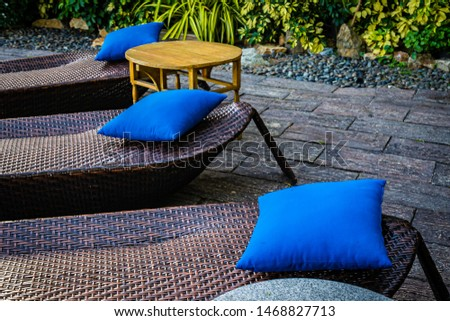 Empty chair decoration outdoor patio for relax and take a break #1468827713