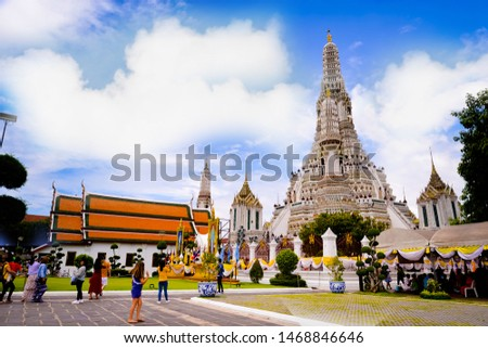 Bangkok,Thailand - July,17,2019 :Pagoda at Wat Arun temple, One of the famous temple in Thailand , This temple has many foreign visitors visiting each day, Bangkok , Thailand. #1468846646