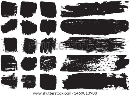Set of black brush strokes with a dry brush #1469013908