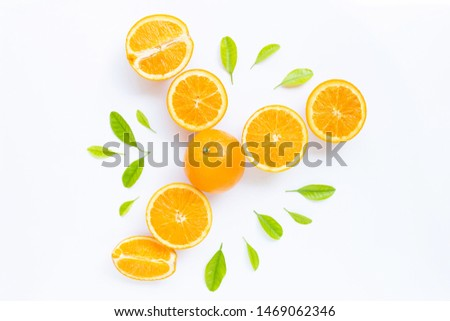 High vitamin C, Juicy and sweet. Fresh orange fruit with green leaves  on white background #1469062346