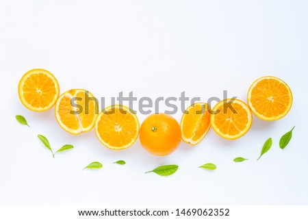 High vitamin C, Juicy and sweet. Fresh orange fruit with green leaves  on white background #1469062352
