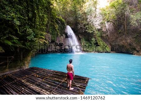 Kawasan waterfalls located on Cebu Island, Philippines - Beautiful waterfall in the jungle #1469120762