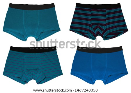Set of male underwear. Set blue of male underwear. Pants boxers isolated on white background. Men's underwear. #1469248358