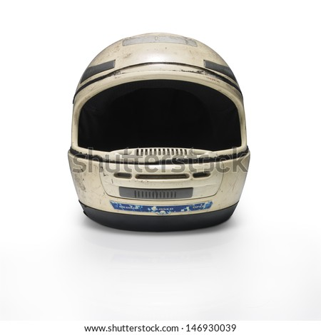 Crushed motorcycle helmet against white background. Front view. Clipping path Royalty-Free Stock Photo #146930039