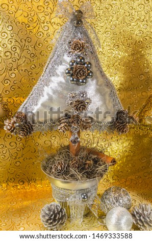 handmade Christmas tree, cushion type adorned with stonework, bow and lace with golden and silver tones, for table or home decoration #1469333588