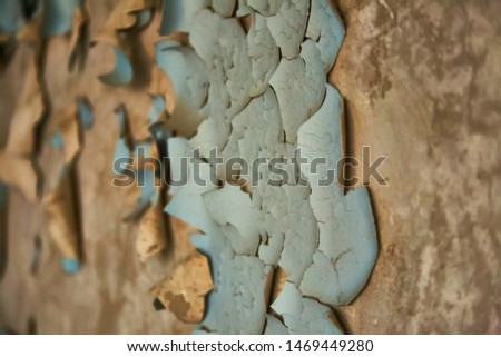 Peeling paint on wall seamless texture. Pattern of rustic blue grunge material. #1469449280