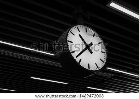 Flying Clock, Time, Object (Black & White). -Image #1469472008