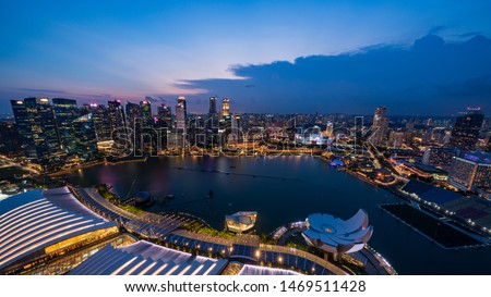 Singapore - July 2019:Singapore skyscrapers at night. Singapore is an island city-state in Southeast Asia. #1469511428