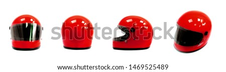 Red motorcycle helmet, front, back and  side on a white background. Royalty-Free Stock Photo #1469525489