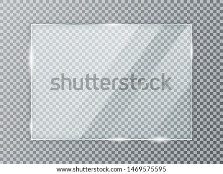 Glass plate on transparent background. Acrylic and glass texture with glares and light. Realistic transparent glass window in rectangle frame. Vector #1469575595