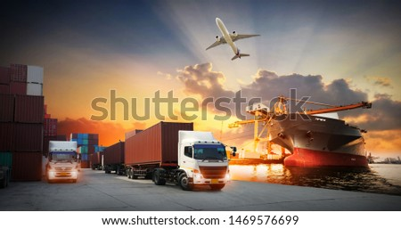 Container truck in ship port for business Logistics and transportation of Container Cargo ship and Cargo plane with working crane bridge in shipyard, logistic import export and transport background #1469576699