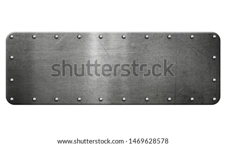 Metal plaque isolated on white background