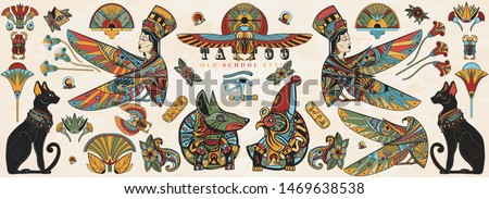 Ancient Egypt collection. Old school tattoo. Egyptian culture and religion elements. God Ra, Anubis, scarab, black cats, eye Horus. Traditional tattooing style #1469638538