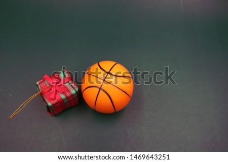 Basketball with Christmas ornament for Christmas holiday
