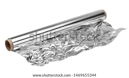 aluminum foil, isolated on white background, clipping path, full depth of field Royalty-Free Stock Photo #1469655344