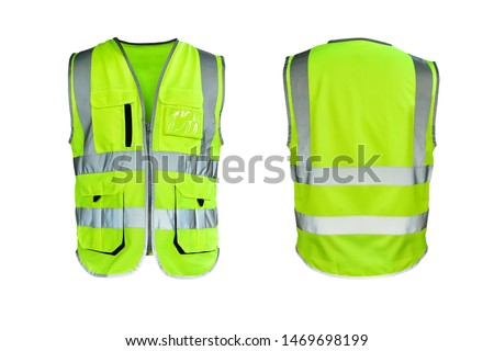 Safety Vest Reflective shirt beware, guard, mind, traffic shirt, safety shirt, rescue, police, security shirt protective jacket isolated on white background. This has clipping path. #1469698199
