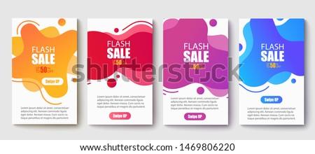 Dynamic modern fluid mobile for sale banners. Sale banner template design, Super sale special offer set.Vector illustration #1469806220