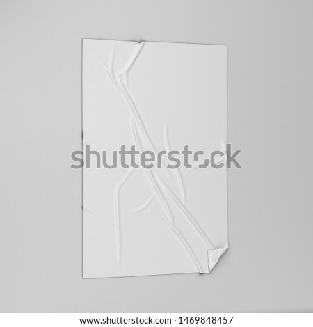 Adhesive poster or sticker on a surface mockup. 3d illustration  #1469848457