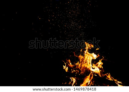 Burning woods with firesparks, flame and smoke. Strange weird odd elemental fiery figures on black background. Coal and ash. Abstract shapes at night. Bonfire outdoor on nature. Strenght of element #1469878418
