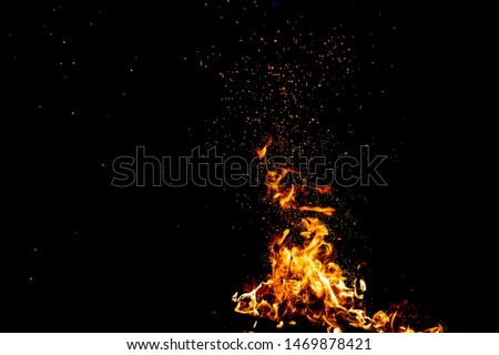 Burning woods with firesparks, flame and smoke. Strange weird odd elemental fiery figures on black background. Coal and ash. Abstract shapes at night. Bonfire outdoor on nature. Strenght of element #1469878421