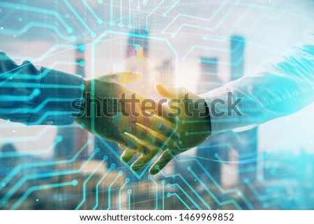 Double exposure of business theme drawing on cityscape background with handshake. Concept of partnership #1469969852