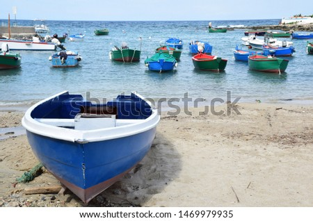 Fishing boats in a bay near the small town Polignano a Mare in Italy #1469979935