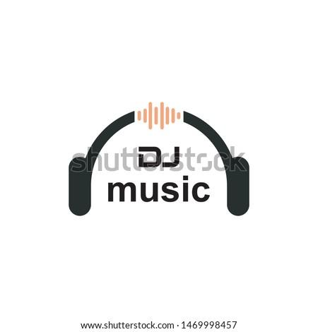 DJ music mixer Microphone Headphones Waveform Sound Wave for Podcast Radio Recording Logo design  #1469998457