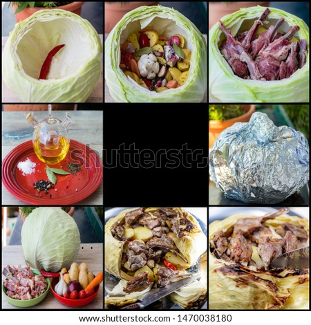 Collage - how to stuff cabbage with spices, vegetables, and meat. #1470038180