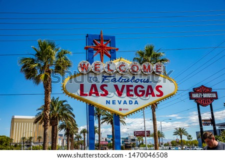 Las Vegas Nevada, USA. May 29, 2019. Welcome to fabulous Las Vegas sign. Sunny spring day, blue sky #1470046508