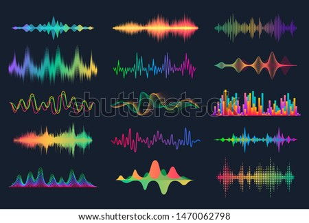 Sound waves. Frequency audio waveform, music wave HUD interface elements, voice graph signal. Vector audio electronic color wave set #1470062798
