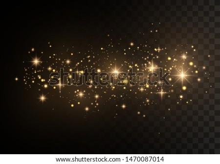 Christmas Abstract stylish light effect on a black  transparent background. Yellow dust yellow sparks and golden stars shine with special light. Vector sparkles   Sparkling magical dust particles. #1470087014
