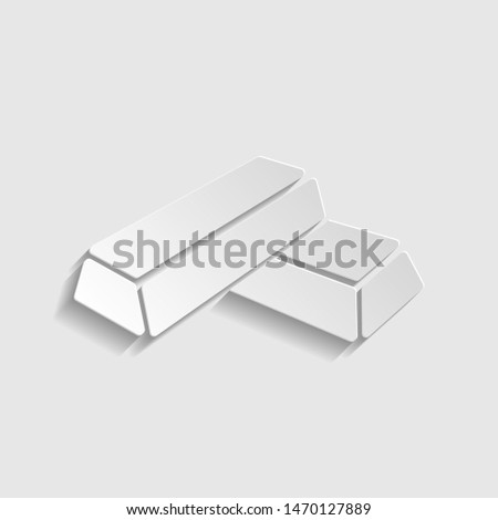 Golden bar sign. Paper style icon. Illustration. #1470127889