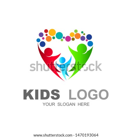 abstract family icon, together symbol, vector logo, love and charity icon #1470193064