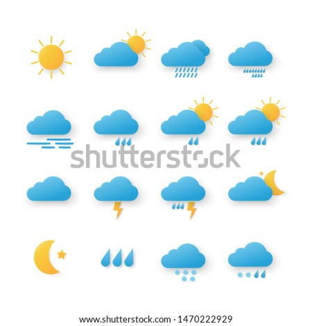 Modern weather icons set Paper Cut. symbols, illustration, isolated on white background - Vector #1470222929