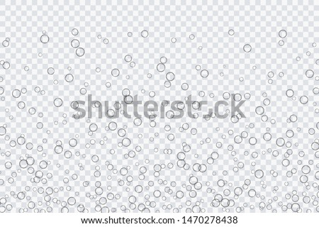 Air bubbles, oxygen, champagne crystal clear, isolated on a transparent background of modern design. Vector illustration of EPS 10. #1470278438