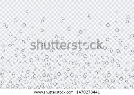 Air bubbles, oxygen, champagne crystal clear, isolated on a transparent background of modern design. Vector illustration of EPS 10. #1470278441