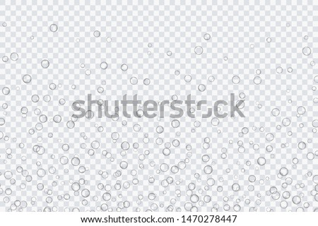 Air bubbles, oxygen, champagne crystal clear, isolated on a transparent background of modern design. Vector illustration of EPS 10. #1470278447