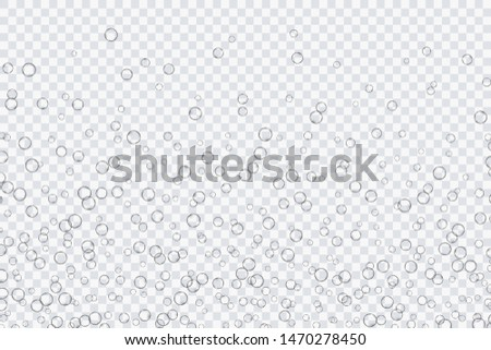 Air bubbles, oxygen, champagne crystal clear, isolated on a transparent background of modern design. Vector illustration of EPS 10. #1470278450