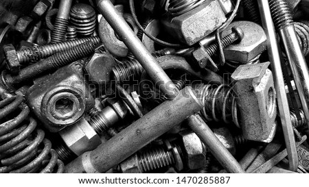 Metalware from steel.Metal fasteners assortment. Bolts, nuts, screws and drill . Metalware. Fasteners fittings. Metal fastening manufacture. Hardware for repair or fixing. #1470285887