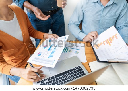 Business presenting to colleagues at a meeting Design Ideas Concept and planning with team working together in the office and entrepreneurship concept. #1470302933