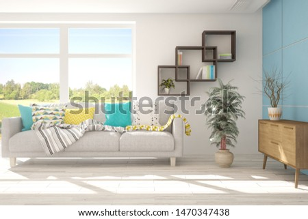 Stylish room in white color with sofa and summer landscape in window. Scandinavian interior design. 3D illustration #1470347438