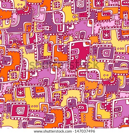 Vector abstract seamless pattern. Cute geometric background for your design. Bright modern seamless border.  #147037496
