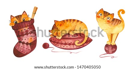 Cats and knitting watercolor illustration set. Adorable kitten sleeping on pillow, playing with yarn ball, hiding in woolen sock cute characters.