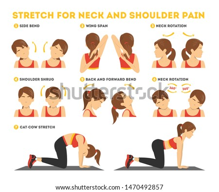 Neck and shoulder exercise. Stretch to relieve neck pain. Idea healthy and active lifestyle. Shoulder shrug and head tilt. Easy office workout. Isolated vector illustration in cartoon style #1470492857