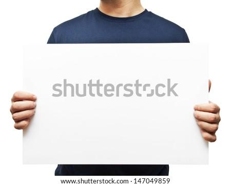 man holding white blank billboard #147049859