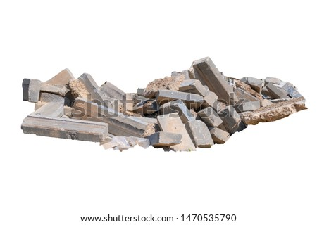 Construction waste, concrete debris from the demolition, road. Isolated on white background Royalty-Free Stock Photo #1470535790