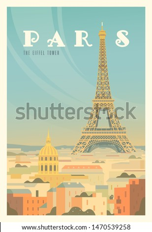 Beautiful city view in sunny day in Paris with historical buildings, The Eiffel tower, trees. Time to travel. Around the world. Quality vector poster. France. #1470539258